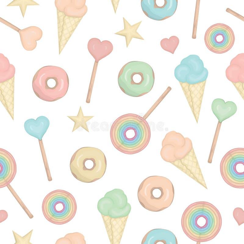 Modelo inconsútil del vector con la piruleta del arco iris, corazones, anillos de espuma, estrellas, helado stock de ilustración