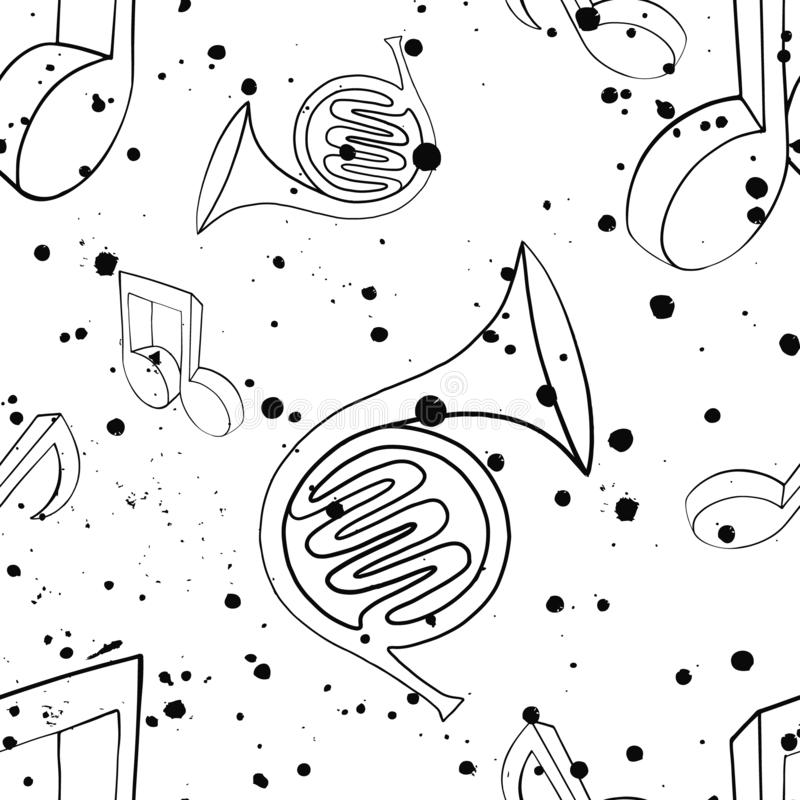 Modelo inconsútil del vector con la plantilla blanco y negro del grunge de los movimientos de la trompa, de las notas, del chapot ilustración del vector