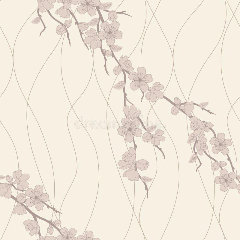 Modelo inconsútil del vector con la ramificación de sakura libre illustration