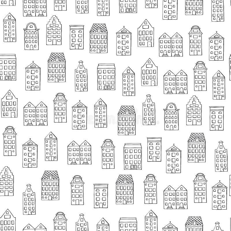 Modelo inconsútil del vector con las casas lindas en el fondo blanco stock de ilustración