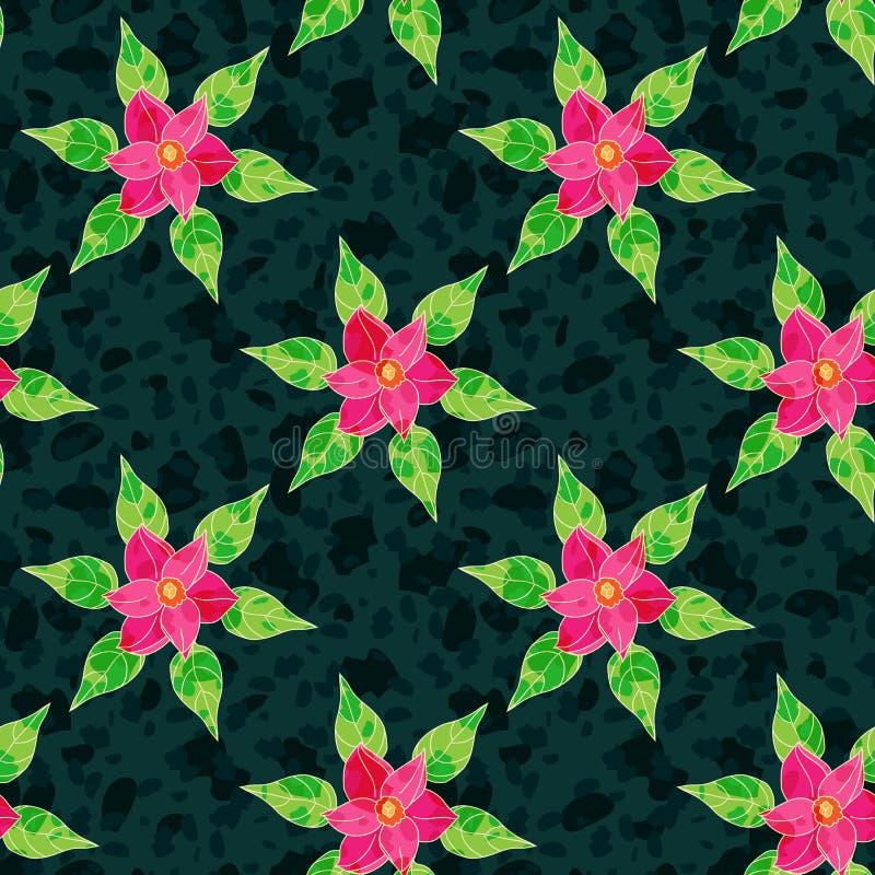 Modelo inconsútil del vector con las flores ilustración del vector