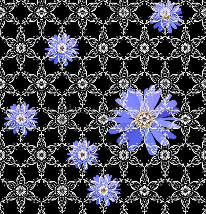 Modelo inconsútil del vector con las flores azules debajo del ornamento blanco del cordón en fondo negro Impresión para la tela libre illustration