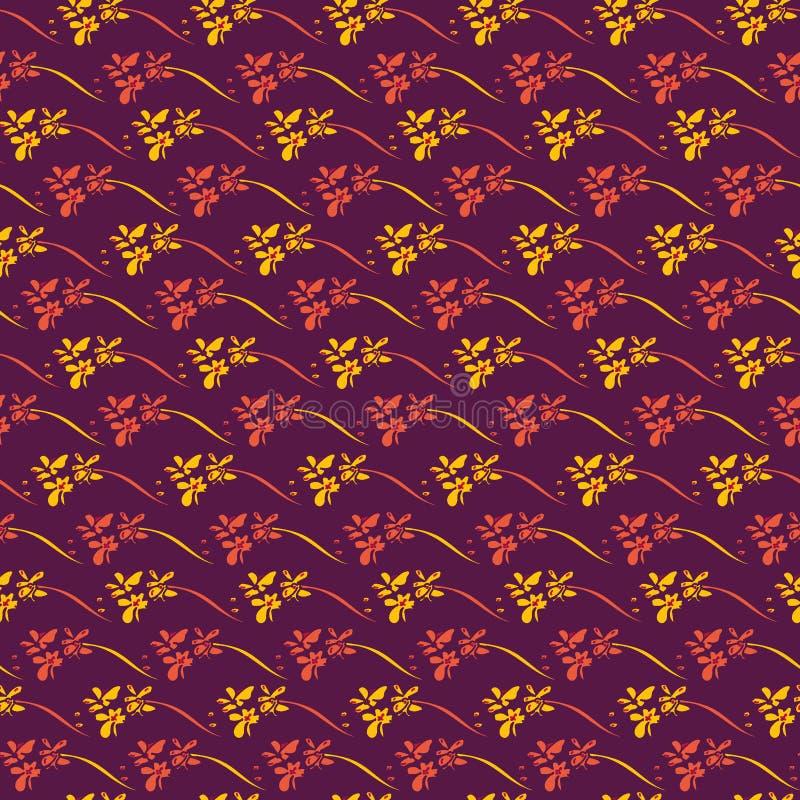 Modelo inconsútil del vector con las flores de la orquídea en púrpura stock de ilustración