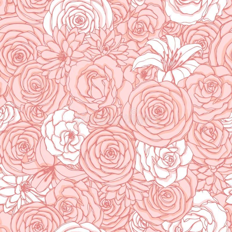 Modelo inconsútil del vector con las flores de la rosa, del lirio, de la peonía y del crisantemo de los colores del rosa y blanco stock de ilustración