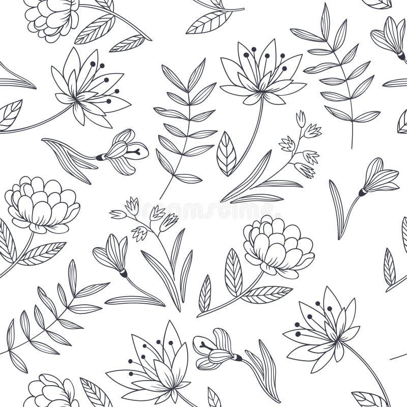 Modelo inconsútil del vector con las flores decorativas Bota dibujado mano libre illustration