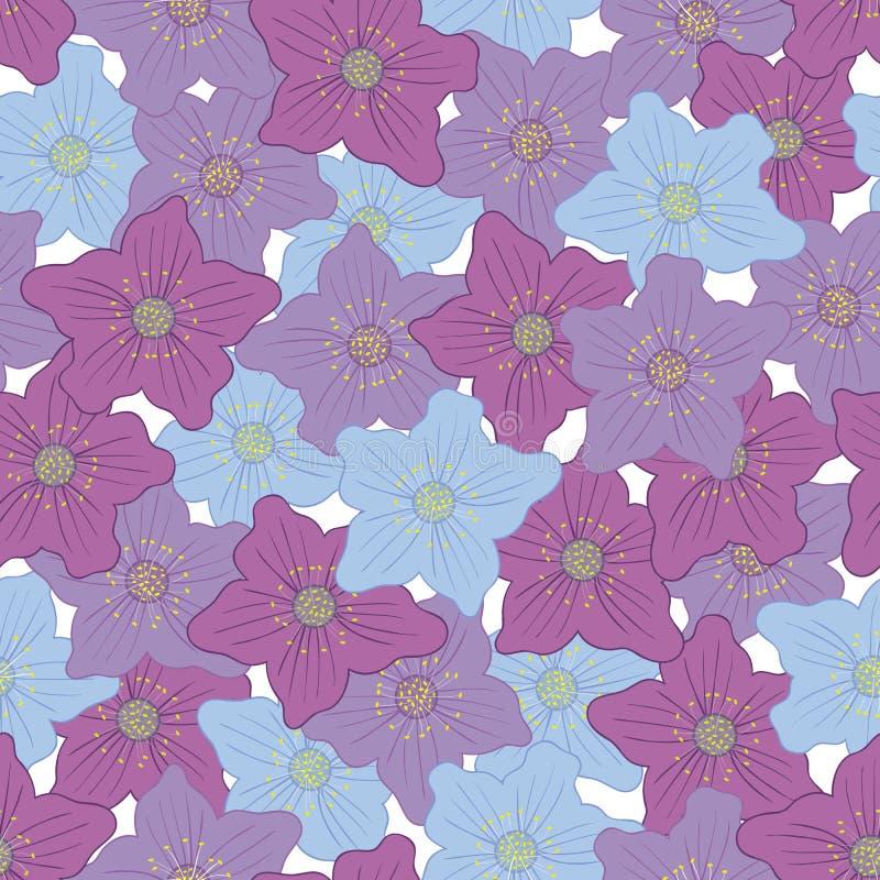 Modelo inconsútil del vector con las flores florecientes hermosas ilustración del vector