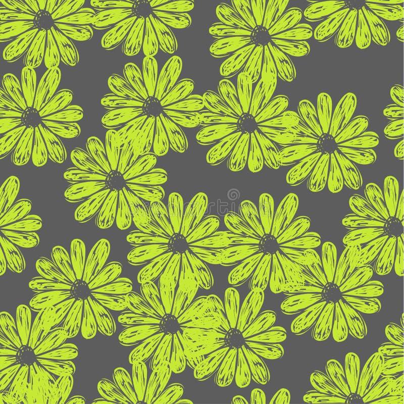 Modelo inconsútil del vector del vector con las flores del garabato ilustración del vector