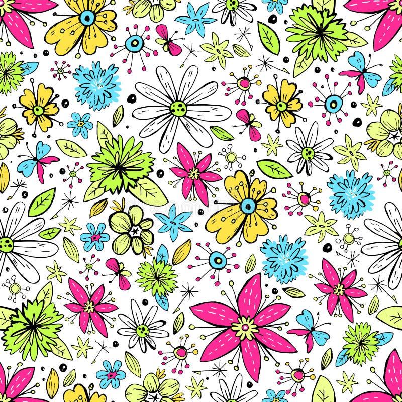 Modelo inconsútil del vector con las flores y la mota dibujadas mano del garabato libre illustration