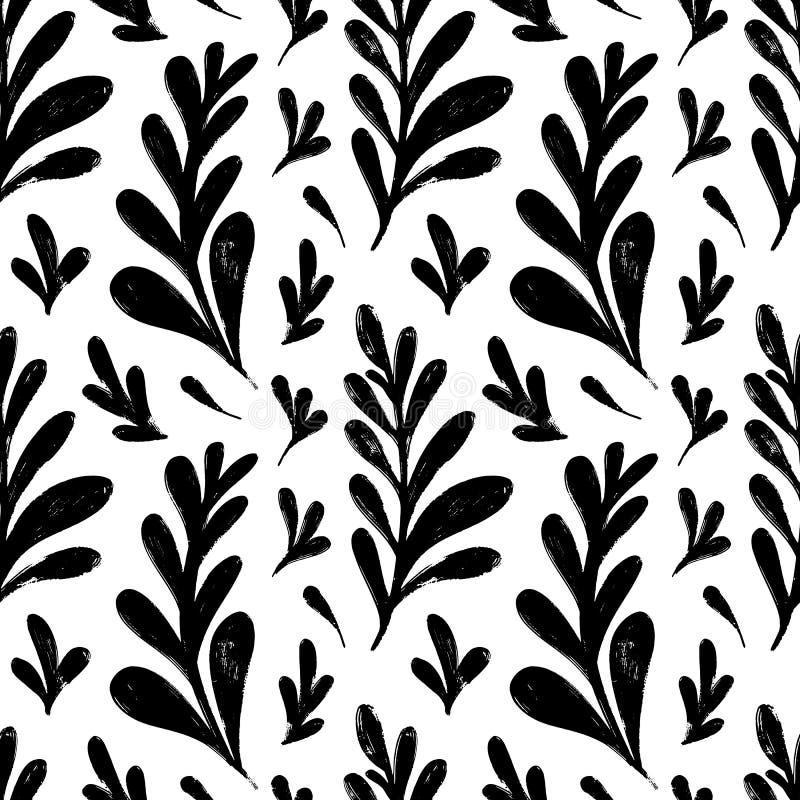 Modelo inconsútil del vector con las hierbas de dibujo de la tinta, espiguillas, ejemplo botánico artístico monocromático, floral stock de ilustración