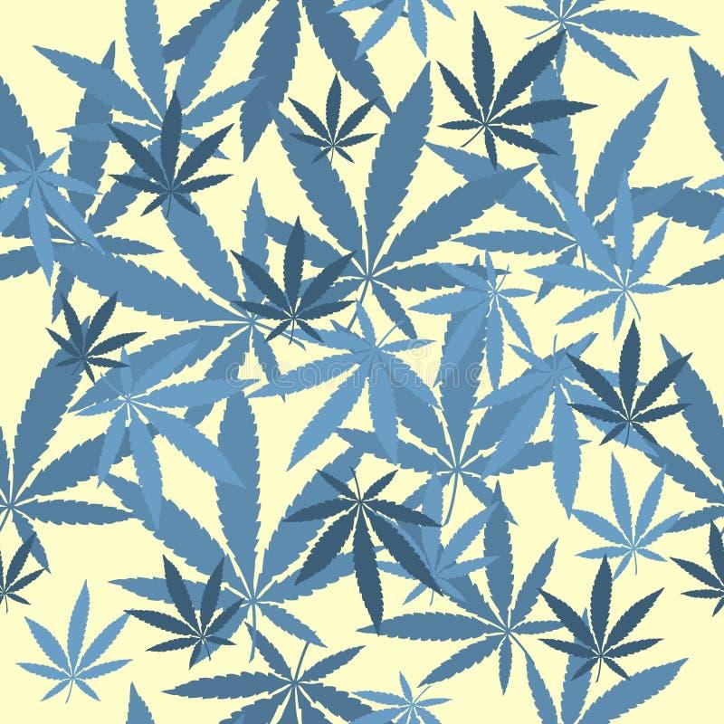 Modelo inconsútil del vector con las hojas de la marijuana stock de ilustración