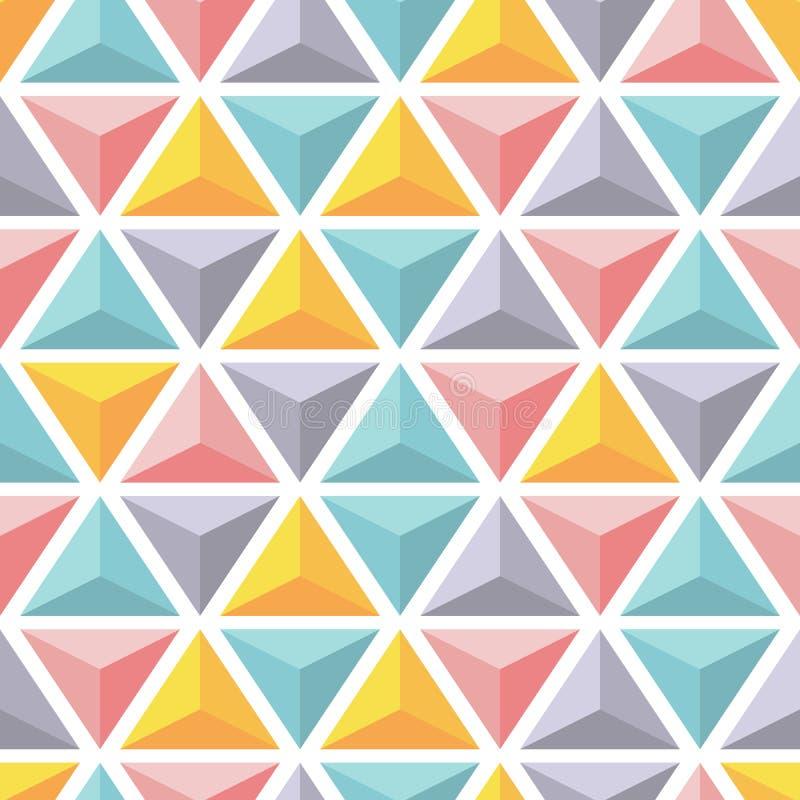 Modelo inconsútil del vector con las pirámides coloridas del triángulo stock de ilustración