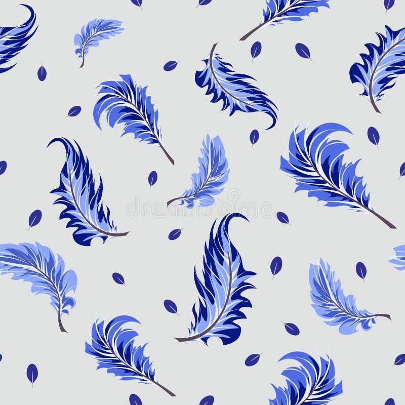 Modelo inconsútil del vector con las plumas azules en un fondo gris Papel pintado, telas y diseño de la materia textil stock de ilustración