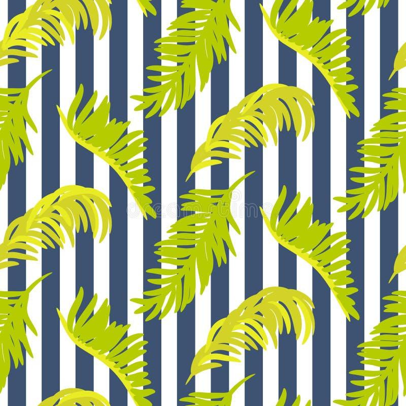 Modelo inconsútil del vector con las ramas de palmera stock de ilustración