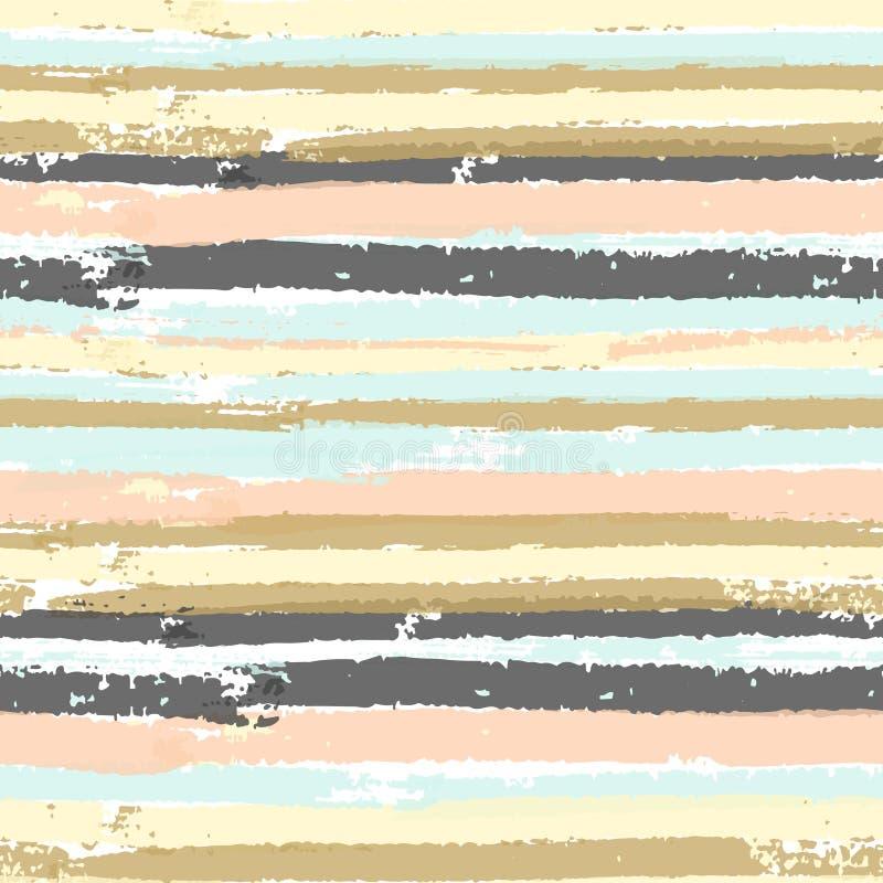 Modelo inconsútil del vector con las rayas en colores pastel de la pintura ilustración del vector