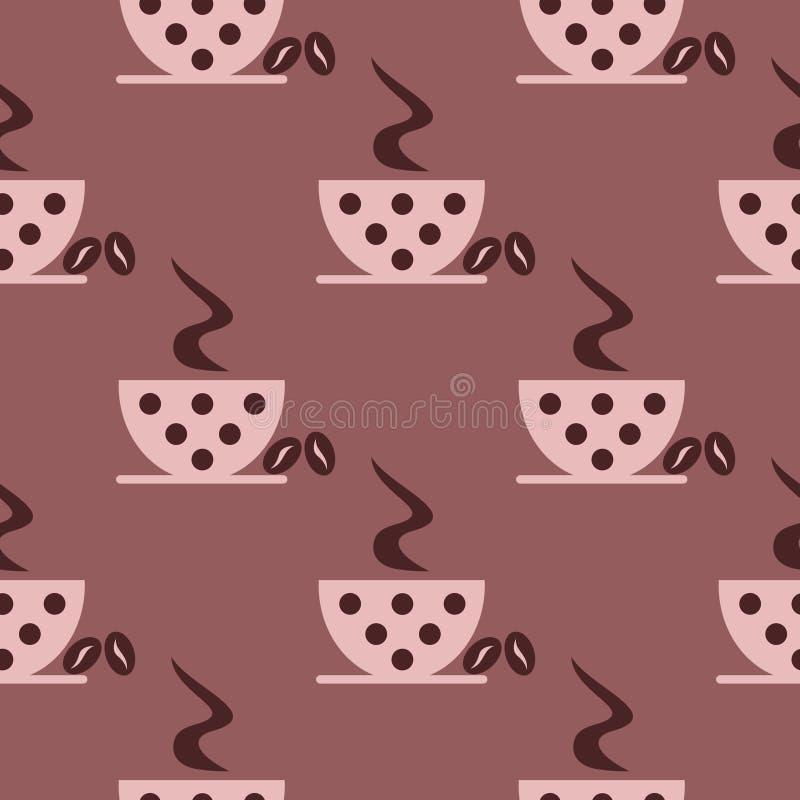 Modelo inconsútil del vector con las tazas de café del rosa del primer con los puntos y los granos en el fondo marrón ilustración del vector