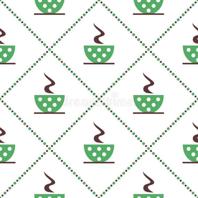 Modelo inconsútil del vector con las tazas de café del verde del primer con los puntos y los granos en el fondo blanco ilustración del vector