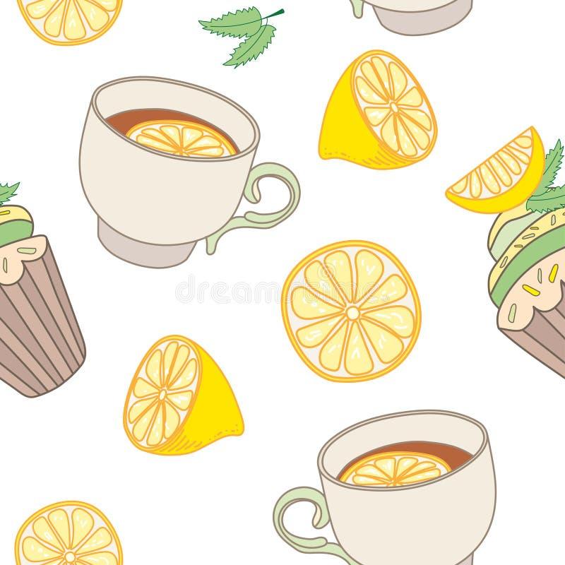 Modelo inconsútil del vector con las teteras, tazas de té, limones ilustración del vector