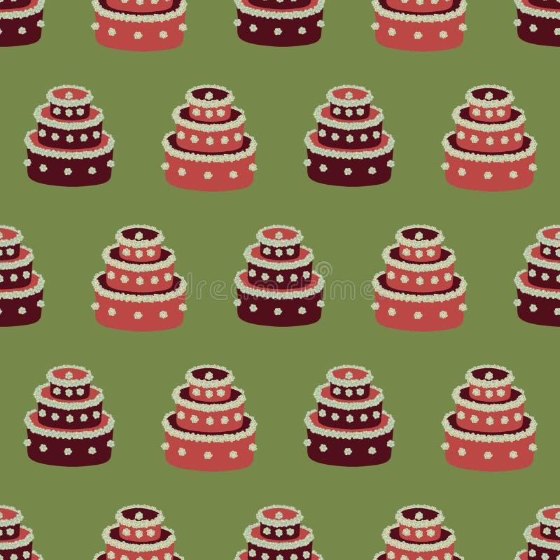 Modelo inconsútil del vector con las tortas rojas de la Navidad en fondo verde libre illustration