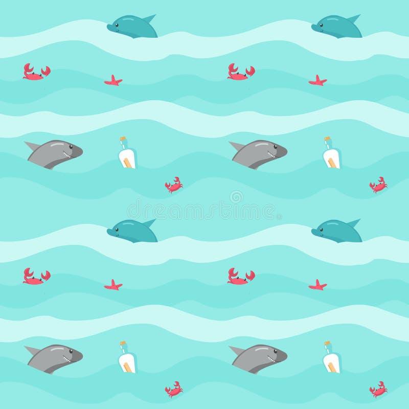 Modelo inconsútil del vector con los animales marinos y los accesorios del pirata ilustración del vector