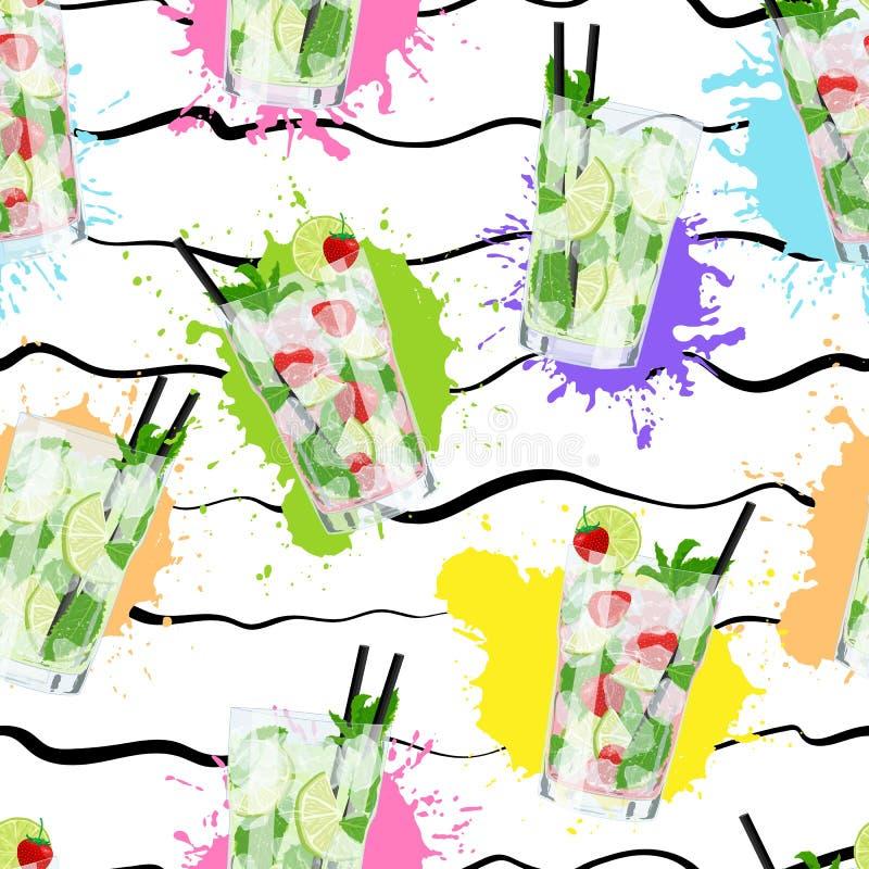Modelo inconsútil del vector con los cócteles de Mojito en fondo abstracto stock de ilustración