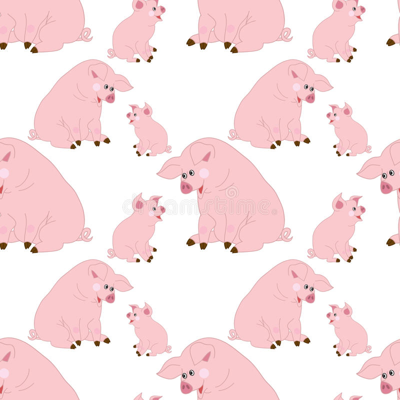 Modelo inconsútil del vector con los cerdos lindos Cerdo del bebé del vector Modelo inconsútil del cerdo libre illustration