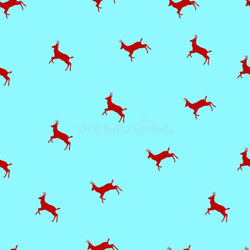 Modelo inconsútil del vector con los ciervos a de la Navidad stock de ilustración