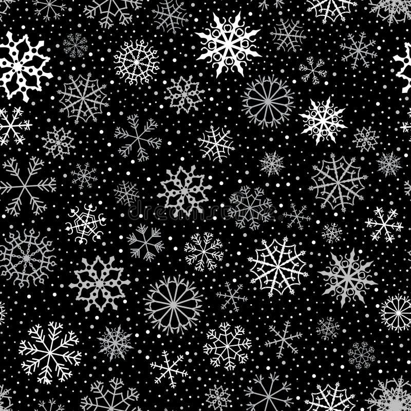 Modelo inconsútil del vector con los copos de nieve blancos y grises en el fondo negro para el invierno y los fondos de la Navida ilustración del vector