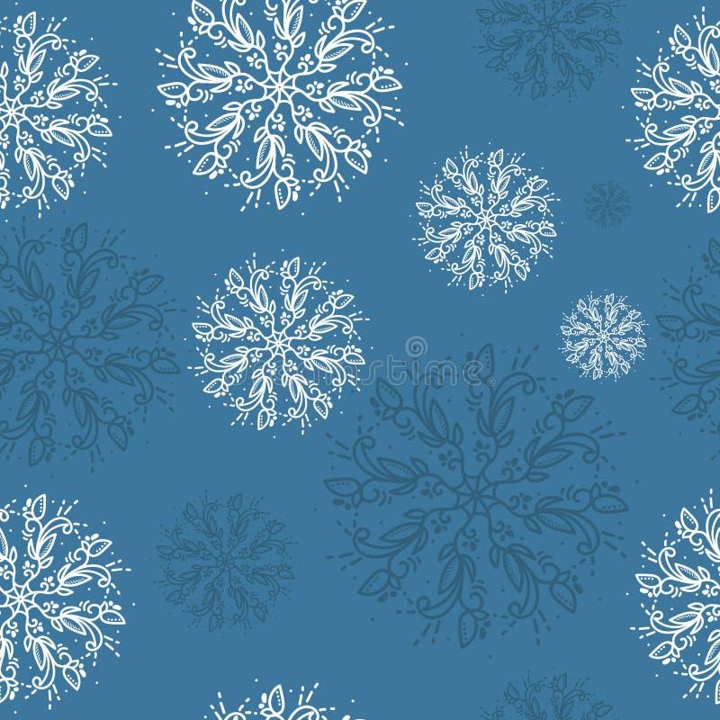 Modelo inconsútil del vector con los copos de nieve detallados El fondo agradable del vector, perfecciona para el papel pintado,  ilustración del vector