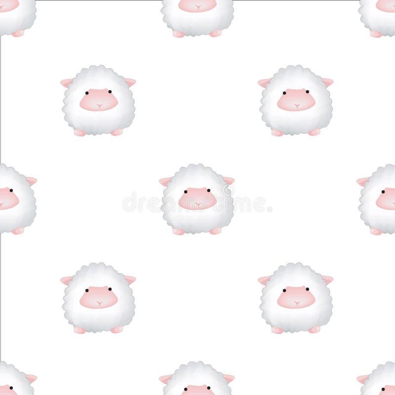 Modelo inconsútil del vector con los corderos El contexto animal lindo para las materias textiles y cualquier otro diseñan para l ilustración del vector