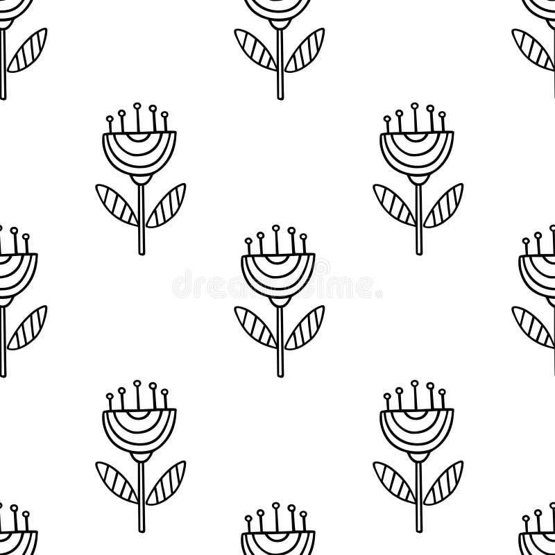 Modelo inconsútil del vector con los elementos florales exhaustos de la mano en el fondo blanco ilustración del vector