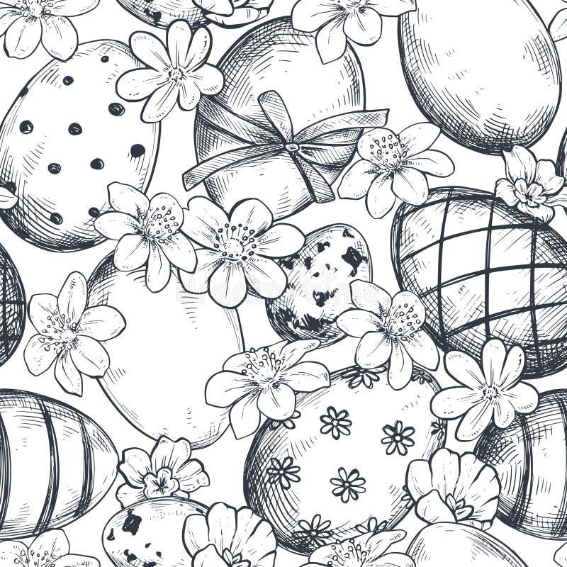 Modelo inconsútil del vector con los huevos de Pascua de la mano y las flores adornados exhaustos de la primavera ilustración del vector