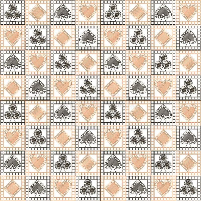Modelo inconsútil del vector con los iconos de naipes Fondo geométrico simétrico blanco y negro ligero stock de ilustración