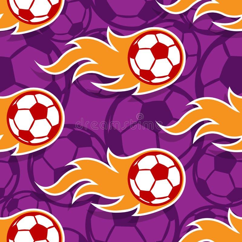 Modelo inconsútil del vector con los iconos y el flam del balón de fútbol del fútbol stock de ilustración