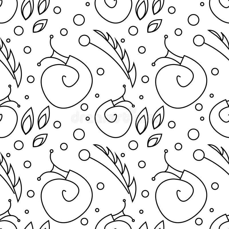 Modelo inconsútil del vector con los insectos, fondo blanco y negro caótico con los caracoles, hojas y puntos stock de ilustración