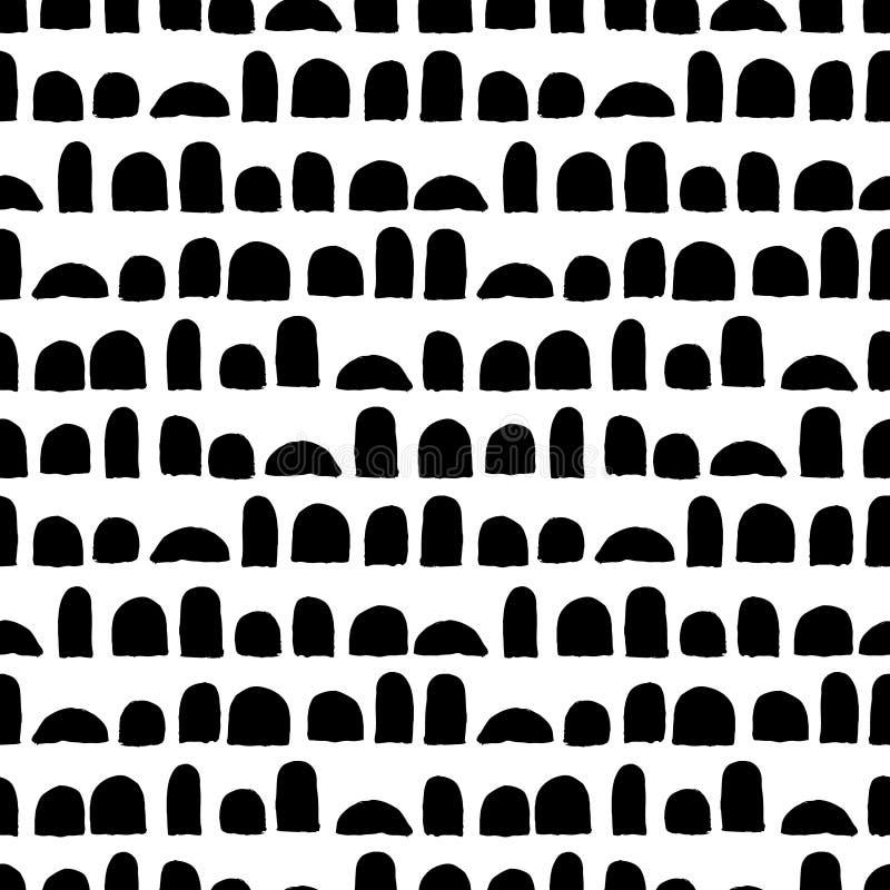 Modelo inconsútil del vector con los movimientos del cepillo Color negro en el fondo blanco Textura pintada a mano del granero Ti libre illustration