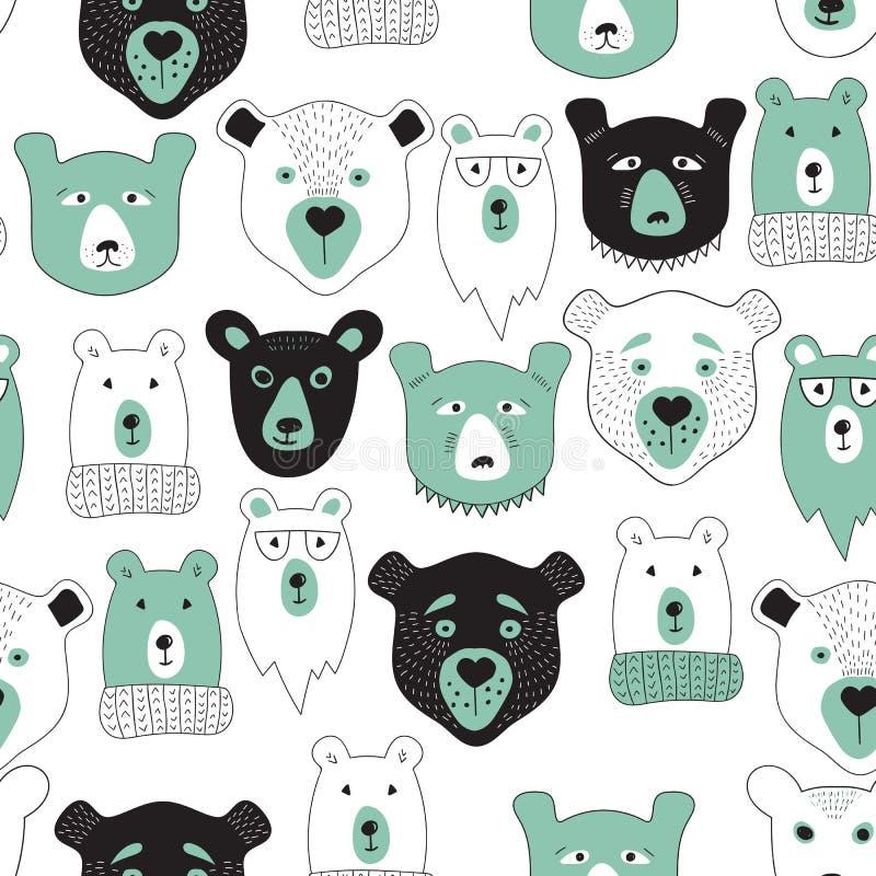 Modelo inconsútil del vector con los osos ilustración del vector