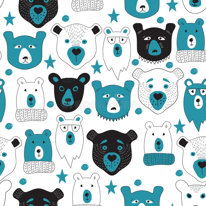Modelo inconsútil del vector con los osos stock de ilustración