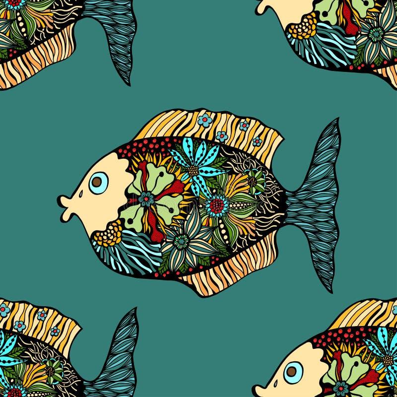 Modelo inconsútil del vector con los pescados stock de ilustración
