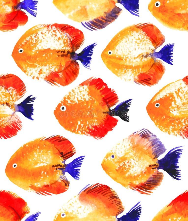 Modelo inconsútil del vector con los pescados del disco de la acuarela libre illustration