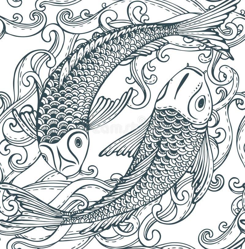 Modelo inconsútil del vector con los pescados dibujados mano de Koi (carpa japonesa), ondas stock de ilustración