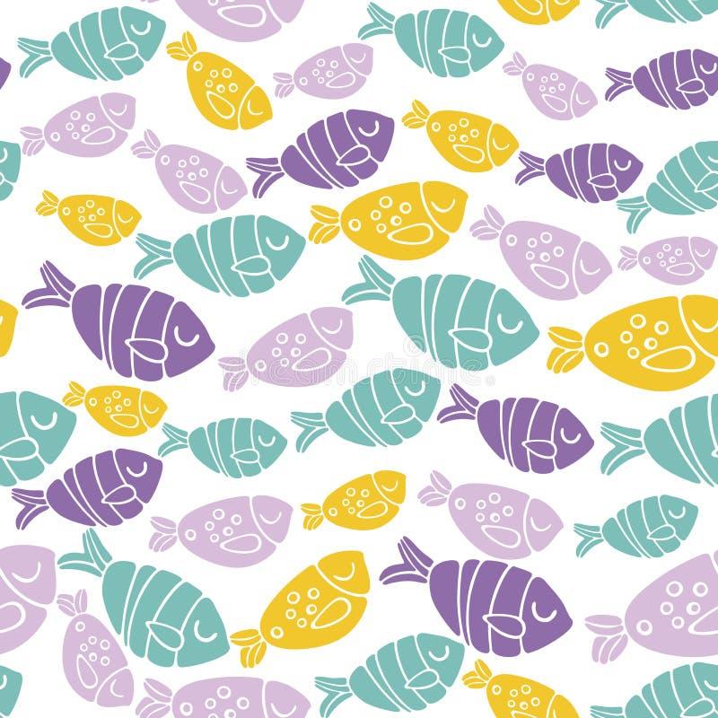 Modelo inconsútil del vector con los pescados rosados, verdes y amarillos en estilo moderno minimalista escandinavo ilustración del vector