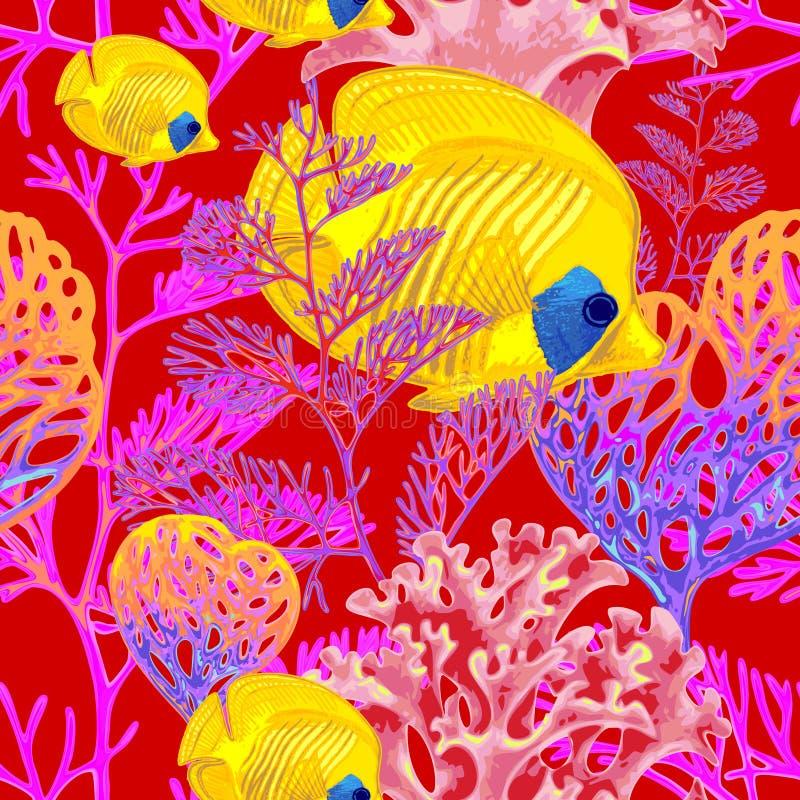 Modelo inconsútil del vector con los pescados y los corales ilustración del vector
