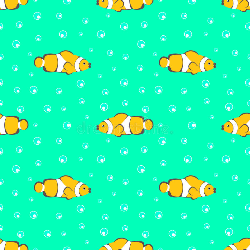 Modelo inconsútil del vector con los pescados y las burbujas amarillos en el fondo verde libre illustration