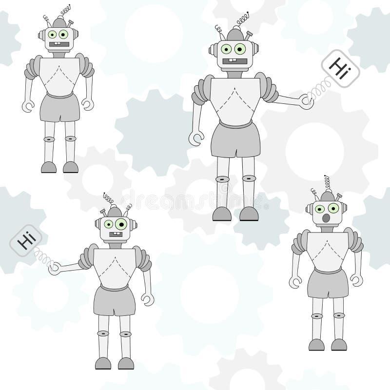 Modelo inconsútil del vector con los robots de la historieta Ejemplo con los robots y los engranajes divertidos Diseño para las m stock de ilustración