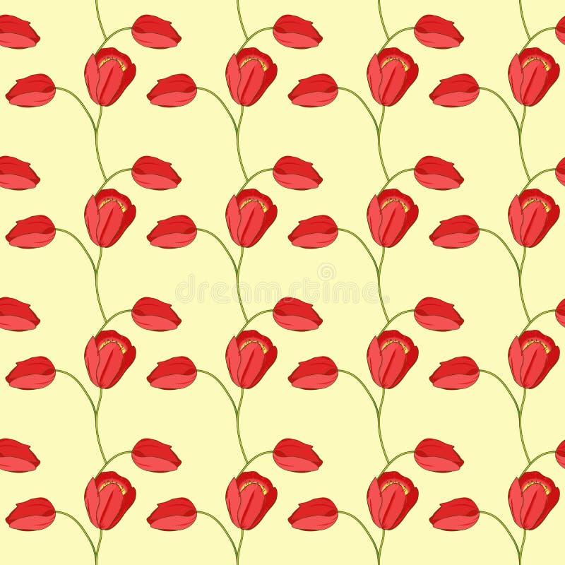 Modelo inconsútil del vector con los tulipanes y las hojas fotos de archivo