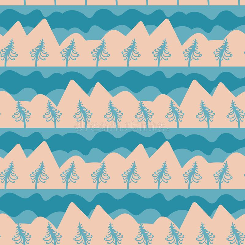 Modelo inconsútil del vector con paisaje de la montaña en trullo frío y beige ilustración del vector