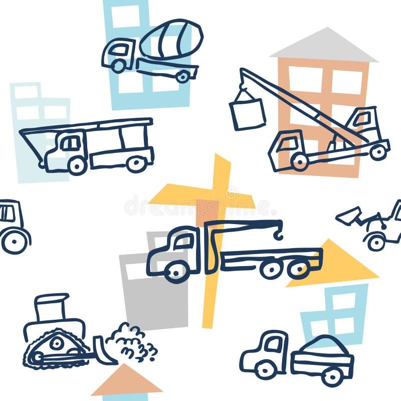 Modelo inconsútil del vector con técnicas del edificio del estilo del esquema del garabato Grúas autos, niveladoras, camiones y m ilustración del vector