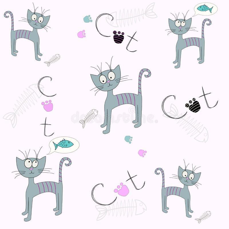 Modelo inconsútil del vector con un gato de la historieta Ejemplo de un gato hambriento Impresión linda stock de ilustración