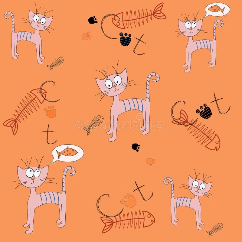 Modelo inconsútil del vector con un gato de la historieta Ejemplo de un gato hambriento Impresión linda ilustración del vector