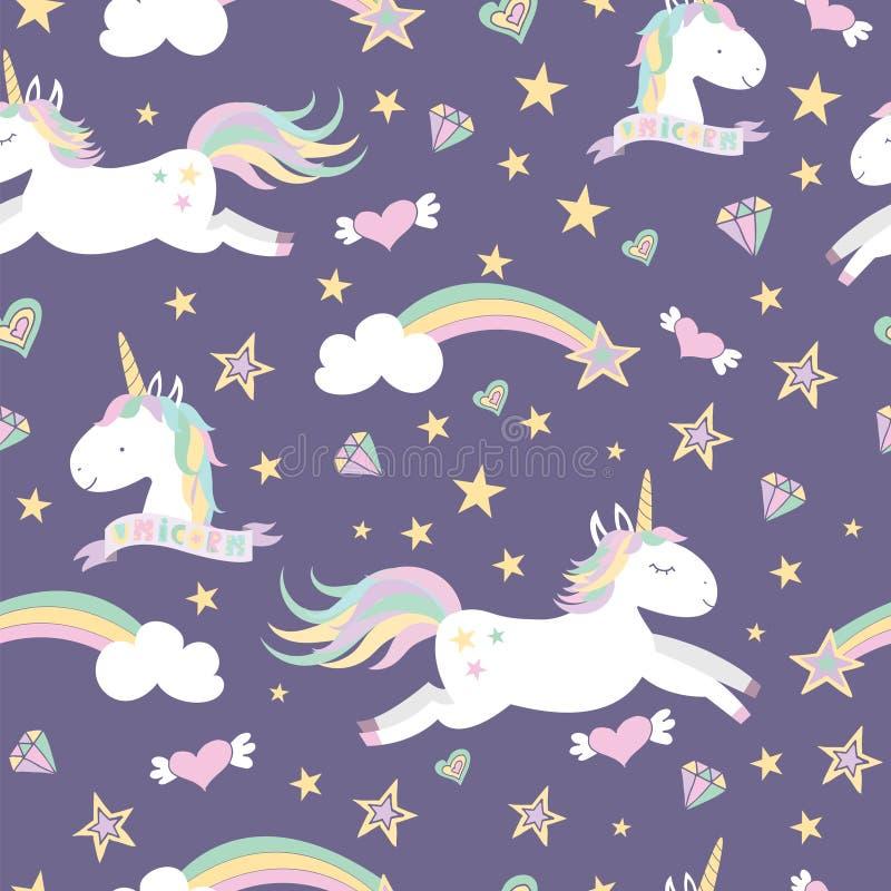 Modelo inconsútil del vector con unicornios mágicos ilustración del vector